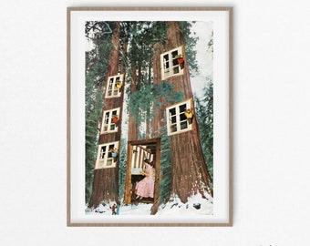 Woods print, Trees art, Nature posters, Fairy house, Surreal artwork, Collage art,