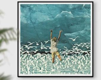 Blue print, sea print, ocean poster, retro prints, bird prints, doves, inspirational art, wall decor, wall art