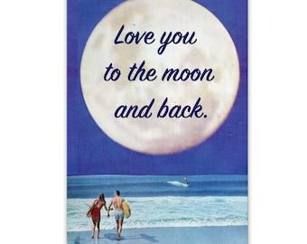 Birthday card, Wedding Anniversary Blank Card , Love You to the Moon and Back, Husband Wife Partner Girlfriend Boyfriend
