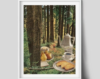 Afternoon tea print, Forest print, Trees art, Nature poster