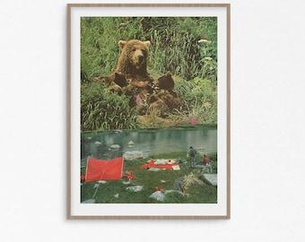 Bear print, woodland animal prints, rustic wall art, green prints, bear art, bear illustration