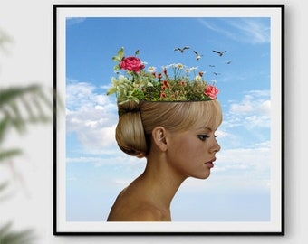 Botanical prints, botanical art, inspirational prints, motivational posters, feminist art, gift for her, square prints, garden art