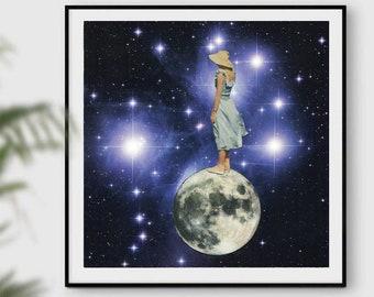 Modern wall art, mid century art print, blue universe, stars, full moon print, retro prints, posters, square art