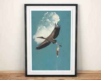 Bird print, Animal prints, Collage art, Surreal poster, Blue turquoise wall art, retro print, retro poster, A4 prints