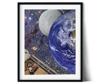 Moon and earth print, Stars poster, Universe, Space art illustration, Feminist art, Strong women print, gift for her