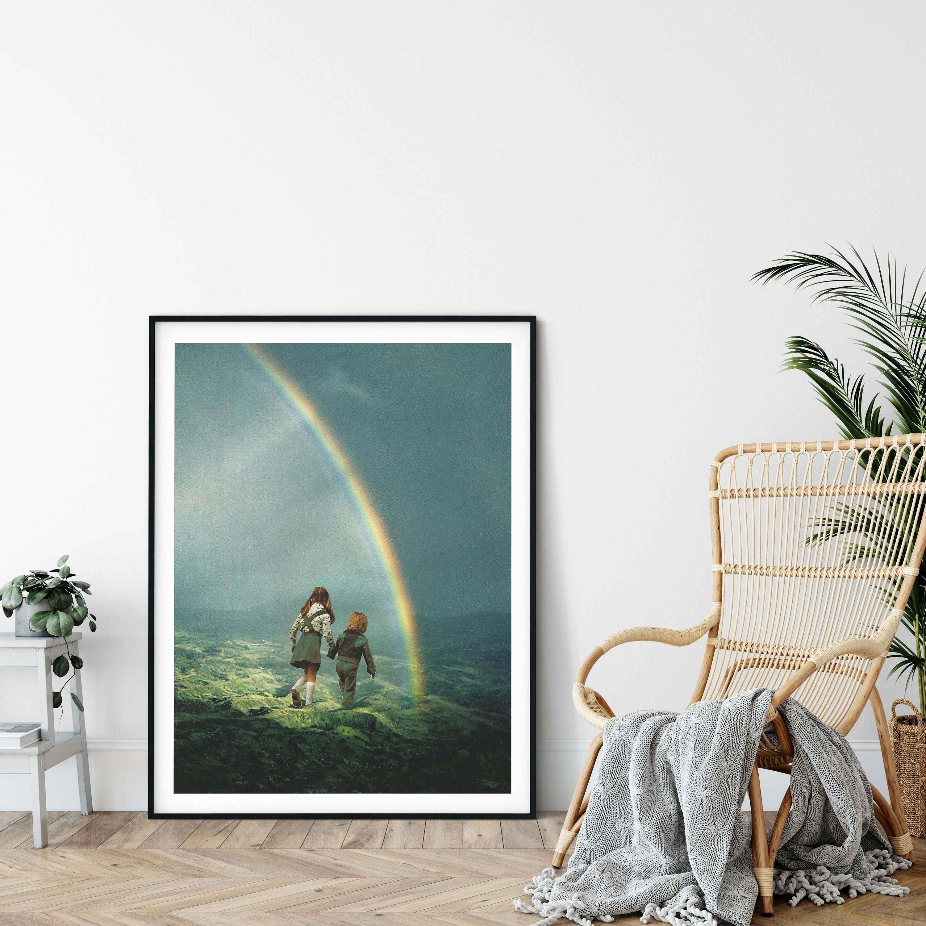 Rainbow print large print large wall art extra large wall art large wall print hallway art livingroom art