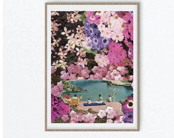 Pink wall art prints, Flower poster, Pink flower art