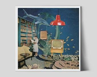 Seascape print, Unique square prints, Underwater illustration, interior design, Vintage, Retro poster