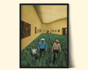 Art gallery print, Nature prints, Green fields artwork, Modern poster, Contemporary