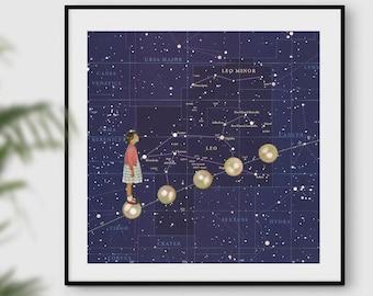 Constellation print, Constellation art, Constellation map, Star chart, Space art, Astrology, Wall art, Blue art