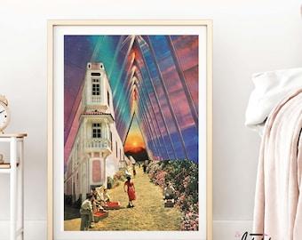 Purple wall art, sunset art, surreal art, collage, vintage poster, colourful art, chrome art, girly wall art