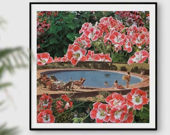Floral print, Swimming pool art, Botanical prints, Garden art, Summer decor, Square print