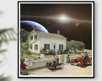 Square print, 12x12 poster, neighbourhood print, universe art, space prints, midcentury art, retro prints, garden print