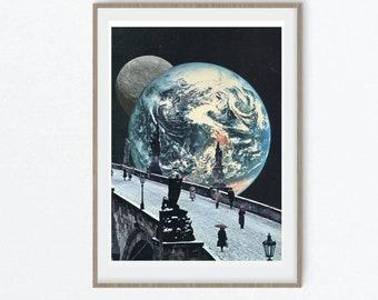 Print wall art, moon art, earth print, travel poster, large art prints