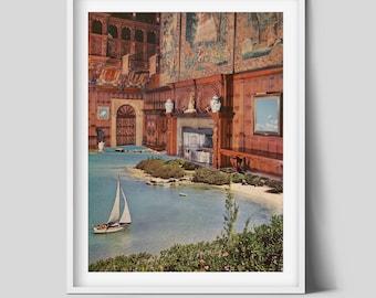 Interior design print, Sea boat art, Modern poster, Living room wall decor
