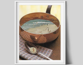 Kitchen prints, Kitchen wall art, Food art, Beach poster, Lunch, Housewarming gift