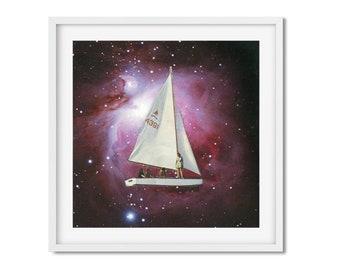 Travel prints wall art, Sailing boat art, universe prints , Stars art, Housewarming gift