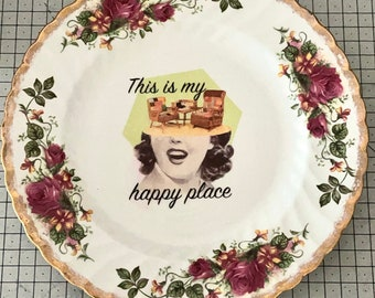 Decorative plate - Collage art decoupage - Housewarming gift - Wall decor