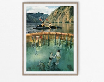 Lake art, Diving gifts, Travel poster, Vintage art