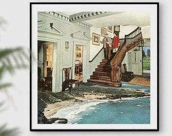 Retro wall art, vintage wall decor, architecture prints, gift for housewarming, unique art, quirky prints, square prints