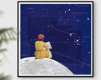 Zodiac art, Astrology print, Constellation,  Star Map