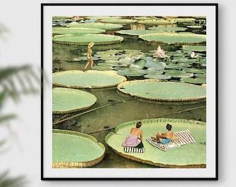Plants prints, waterlilies art, waterlilies posters, green poster, nature art, summer prints, summer decor, minimalism art