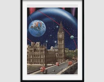 London print - Big Ben art- Vintage, Retro prints - Earth, universe, space art