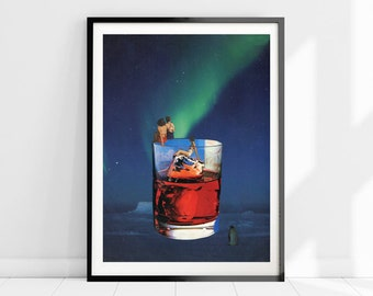 Kitchen wall art print , Drink poster, Northern lights large art, Extra large dinning room print