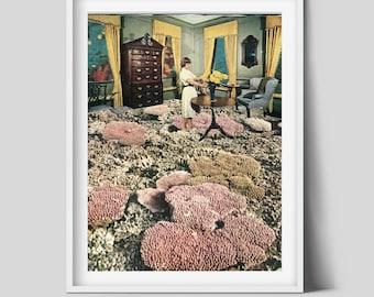 Bathroom prints, Flower plant print, Interior, Illustration, Sea poster, Coral, Underwater
