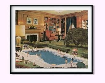 Modern art print, Swimming pool prints, Summer decor, Vintage, Collage art,