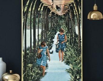 Oversized wall art print, Palm tree art, Nature prints, Summer art, Collage art, Large poster, Living room prints
