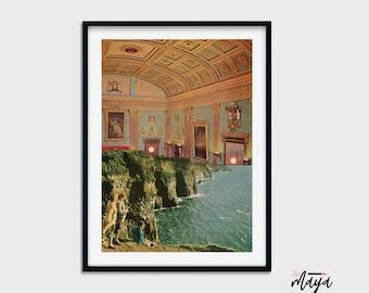 Architecture print, Sun set prints, Orange print, Sea side art, Modern poster