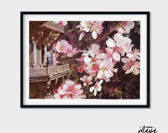 Pink Wall art, Valentines day prints, A5 poster, Cherry blossom art