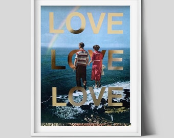 Valentines day Print, Love art poster, Real gold foil print, Unique art, Gift for her/him, A3