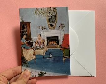 Blank greeting card - Happy birthday card - Thank you card - Cat lady card - black cat card