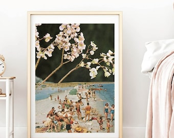 Floral print,Beach, Summer, Large print, Large wall art,  extra large wall art, large wall print, Hallway art, Livingroom art