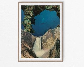 Waterfall print, Landscape art, Mountain artwork, Coral, 16x20 print
