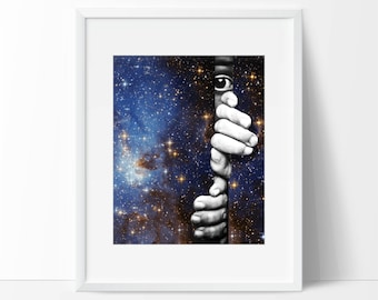 Galaxy art print - Space and stars poster - Truth is out there - Explore life print surreal