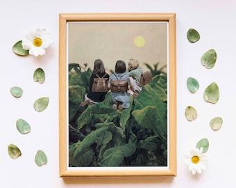 Sunrise sun art, mid century print, minimalist wall art, retro print, nordic design, minimalist art, retro poster, sun print, plants print