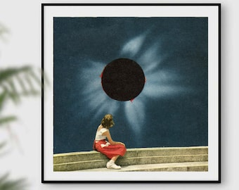 Square print, Retro prints, Mid century art, Eclipse photo, navy blue wall art, navy prints, gift for her, wall decor, office prints