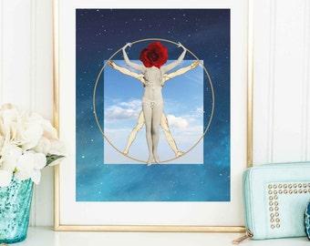 Feminist art print - Vitruvian woman poster