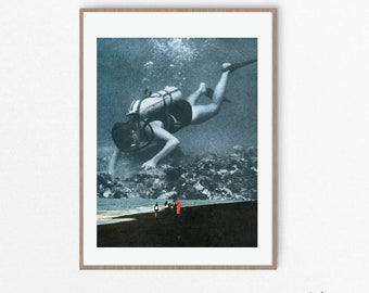 Coastal prints - Beach print - Wall art decor - Grey blue print - Sea print