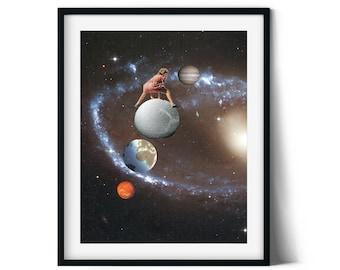 Universe art print, Wall art poster, Space art, Unique prints, Modern art, Collage art