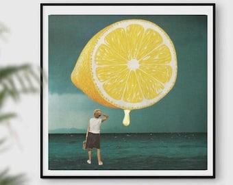 Lemon Print - Lemons Art Prints - Vintage Botanical Fruit Art Illustration
