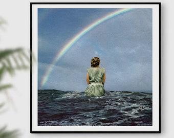 Rainbow Print, Rainbow Wall art, Happy, Rainbow decor, Blue print, Blue wall art, Sea print,