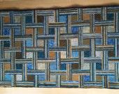 Basketweave Geometric hooked rug