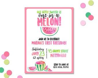 One In a Melon Birthday Invitation - Watermelon Birthday Invitation - Watercolor - First Birthday Invitation - Printable Birthday Invitation