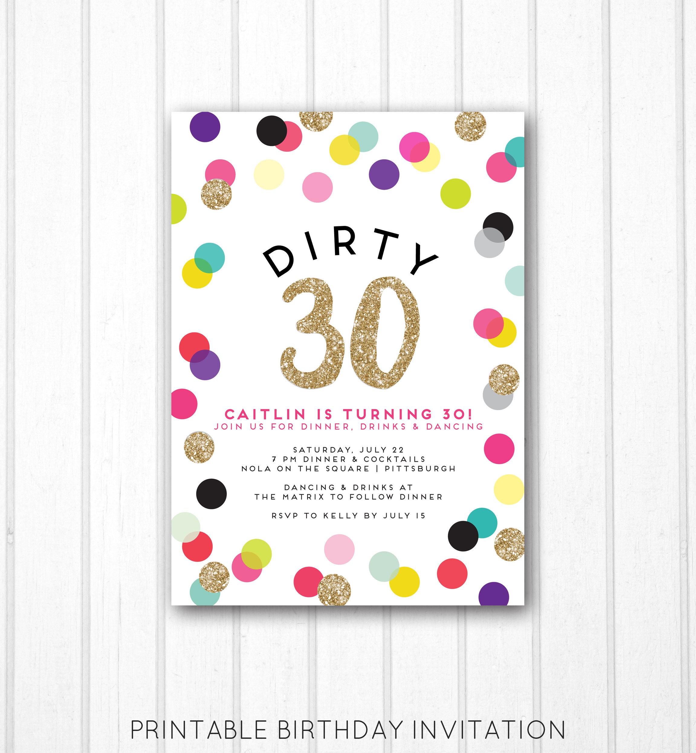 Dirty 30 Invitation Dirty Thirty Thirtieth Birthday Polka | Etsy
