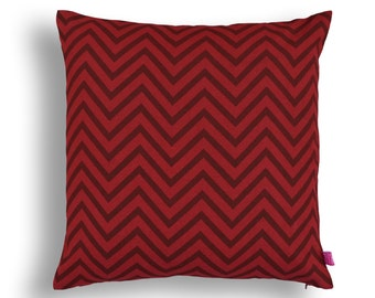 Red chevron pillow, cotton, print in back & front, reversible cushion, standard size 16X16 inches, other sizes available