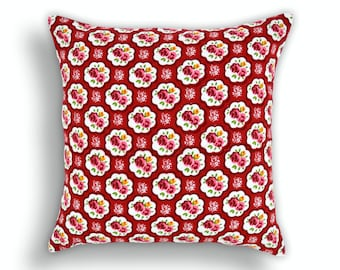 Shabby chic pillow cover, cotton pillow cover, rose print, cotton pillow, sizes available.